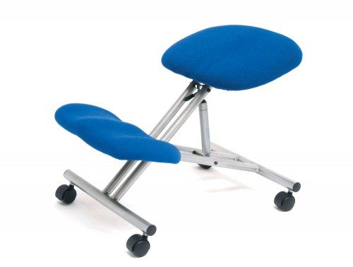 Trexus Kneeling Office Chair Steel Framed on Castors Gas Lift Seat in Blue