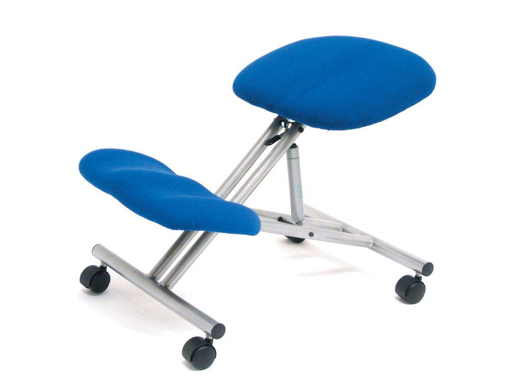 Trexus Kneeling Office Chair Steel Framed on Castors Gas Lift Seat in Blue