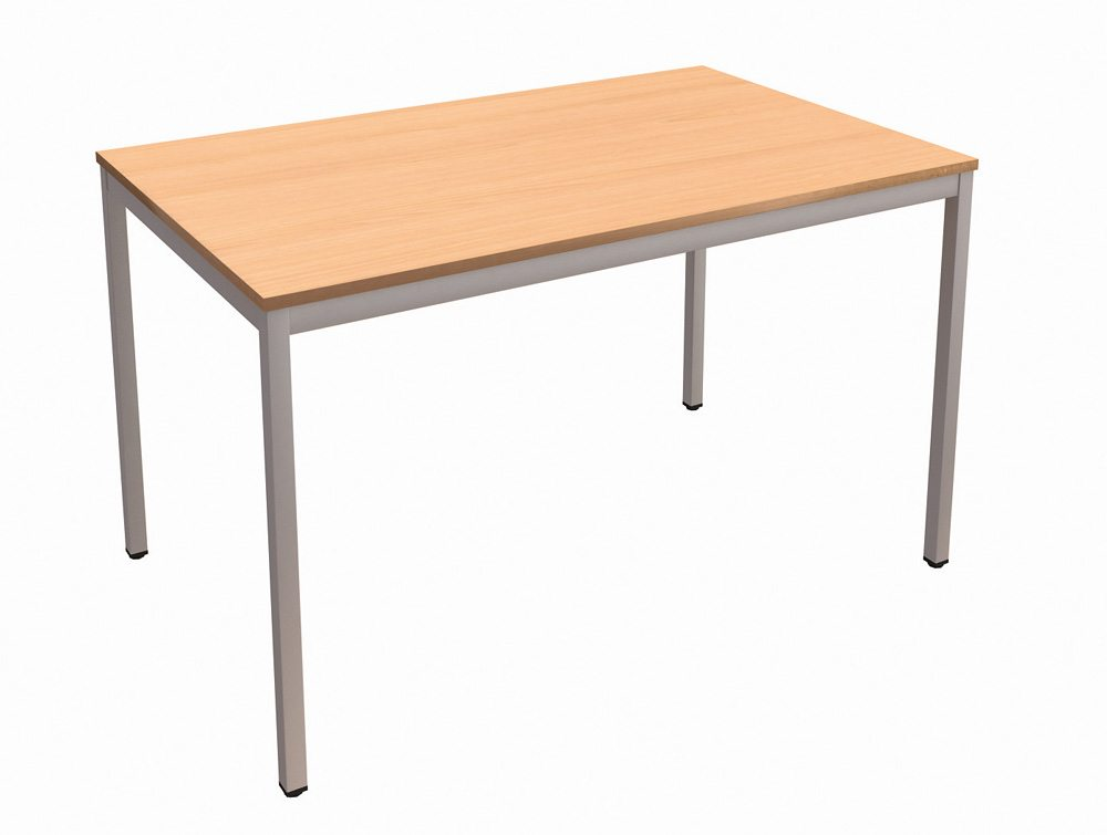 Trexus Rectangular Office Table With Silver Legs In Beech
