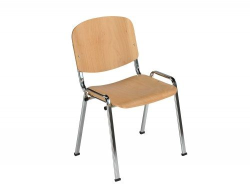 Trexus Stacking Chair Chrome Frame with Wooden Beech Seat
