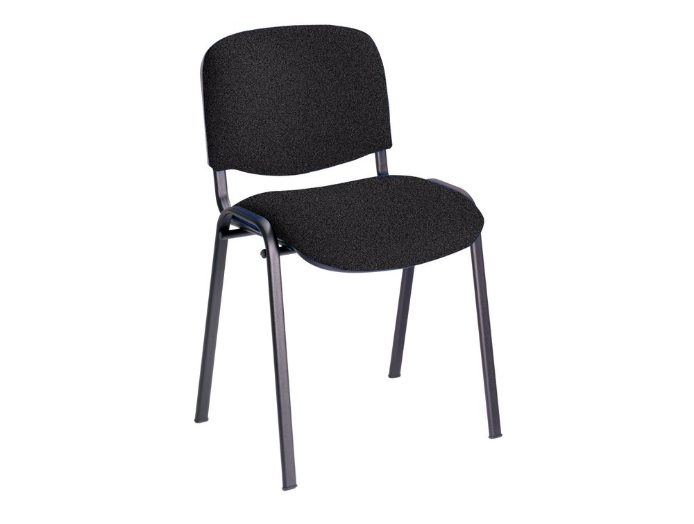 Trexus Stacking Chair Upholstered with Shaped Seat in Charcoal