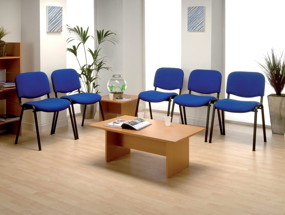 Trexus Stacking Chair Upholstered with Shaped Seat in Blue office view