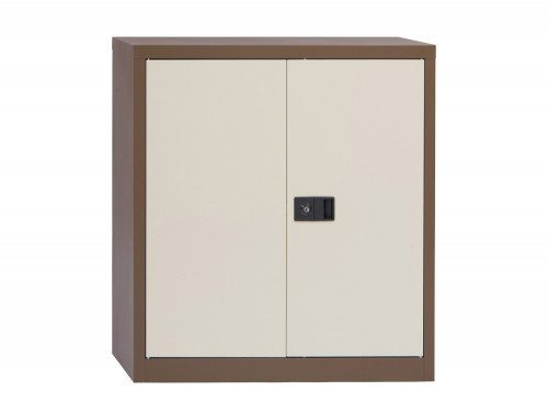 Trexus Storage Cupboard Steel 2 Door 1000mm high in Brown and Cream