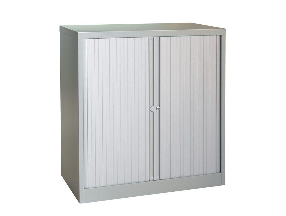Bisley Tambour Cupboard Steel Side-Opening 1015mm High - Grey
