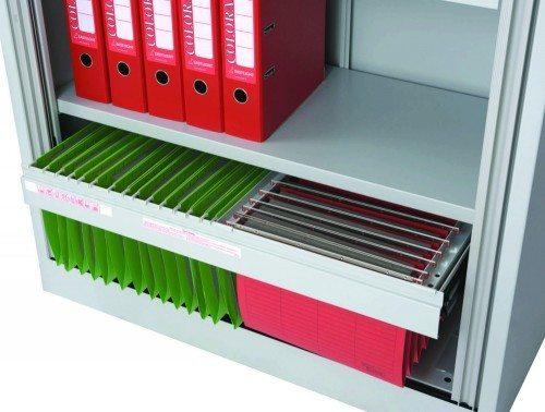 Trexus Tambour Cupboard Steel Side-opening 1320mm high Shelves