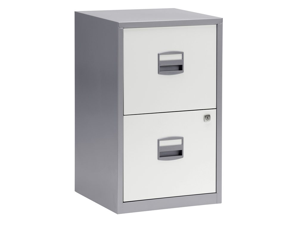Trexus by Bisley SoHo Filing Cabinet Steel Lockable 2-Drawer A4 in Silver and White