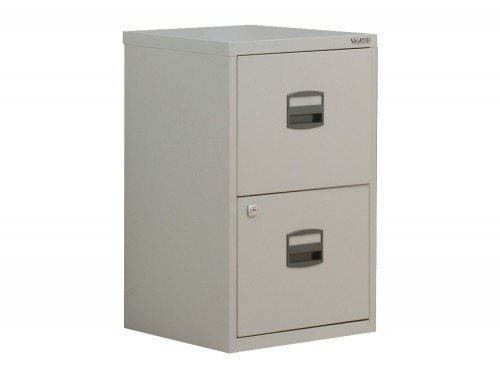 Trexus by Bisley SoHo Filing Cabinet Steel Lockable 2-Drawer A4 in Grey
