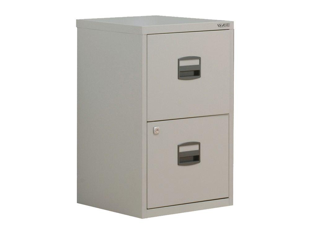 Trexus by Bisley SoHo Filing Cabinet Steel Lockable 2-Drawer A4 in Grey
