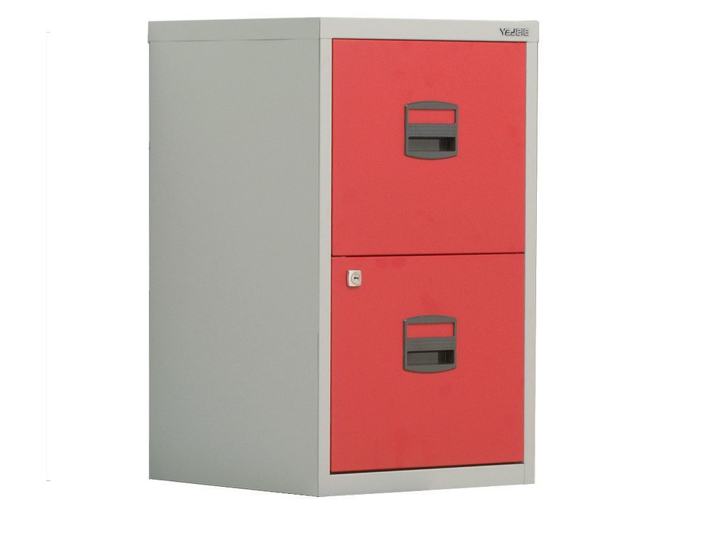 Trexus by Bisley SoHo Filing Cabinet Steel Lockable 2-Drawer A4 in Grey and Red