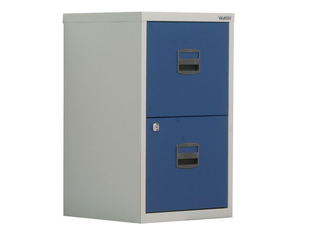 Trexus by Bisley SoHo Filing Cabinet Steel Lockable 2-Drawer A4 in Grey and Blue