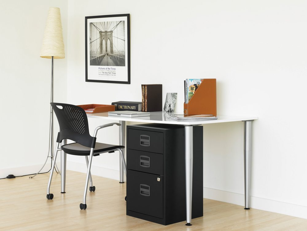 Trexus by Bisley SoHo Filing Cabinet Steel Lockable 3-Drawer A4 Side Angle