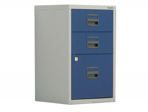 Trexus by Bisley SoHo Filing Cabinet Steel Lockable 3-Drawer A4 in Grey and Blue