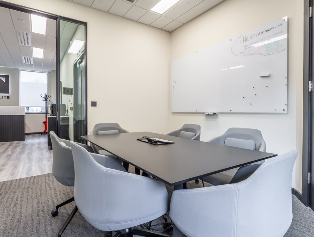 Twinlite Office Black Meeting Room Table with Grey Tub Chairs