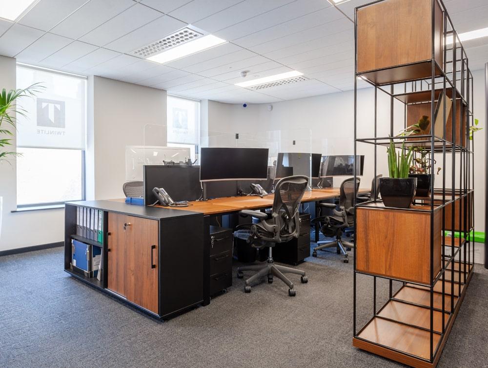 Twinlite Office Desks with Storage Drawers Pedestals and Ergonomic Mesh Chairs Pallisades