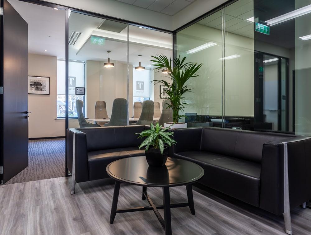Twinlite Office Reception Black Sofa with Circular Coffee Table