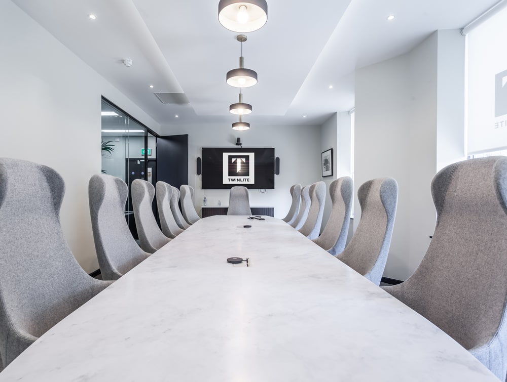 Twinlite Office White Boardroom Table with High Back Comfy Meeting Room Chairs1