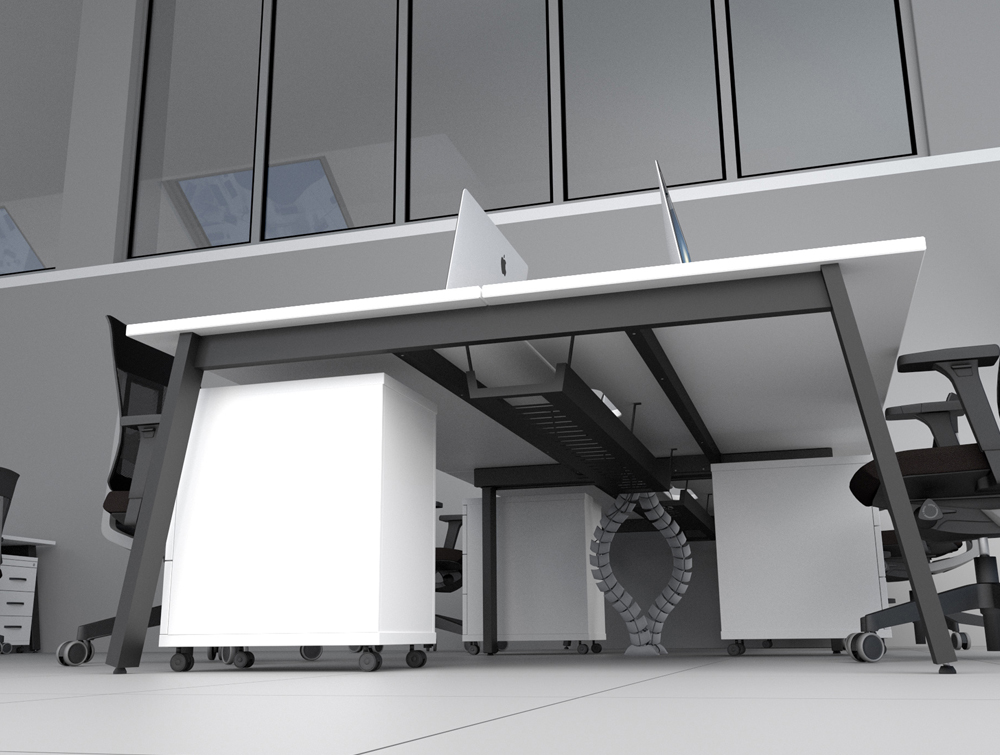 Switch Heavy Duty Desk Cable Tray In White Radius Office Uk