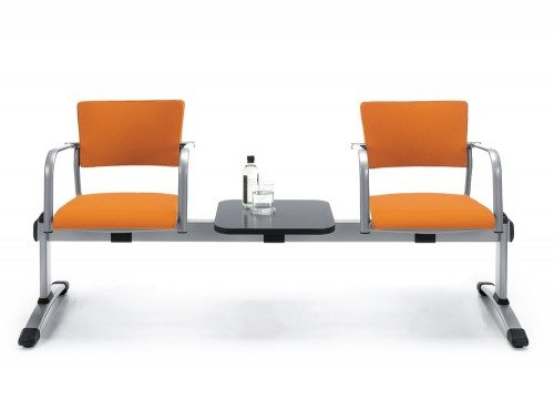 Upholstered Beam Seating Orange with table in the middle - metal frame