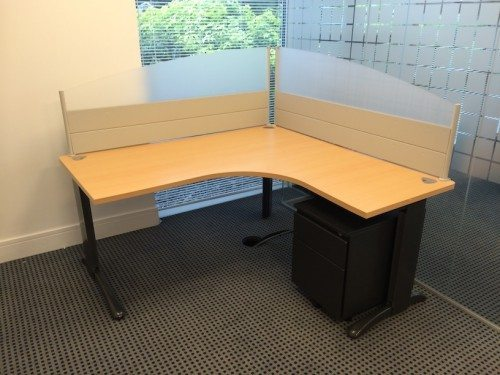 One Workstation with Desk, Pedestal and Partitions