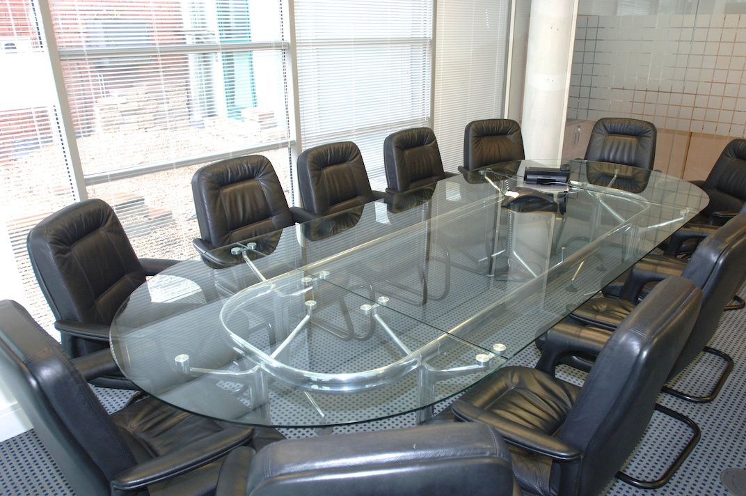 Glass Boardroom Table With Leather Chairs - Glass boardroom table