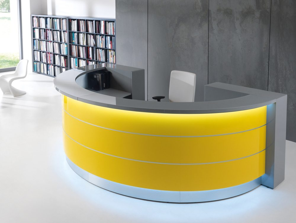 Valde curved circular reception desk in yellow
