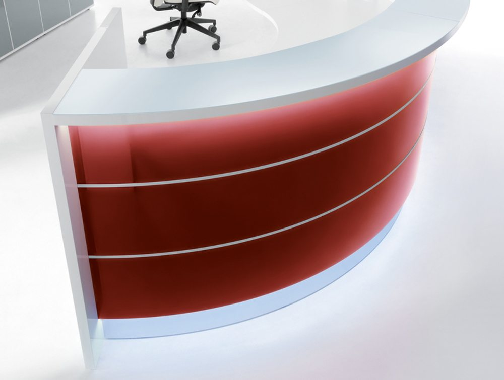 Valde curved circular reception desk in red