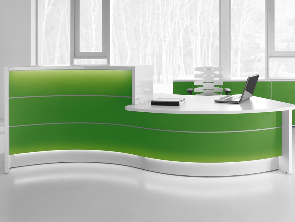 Valde curved circular reception desk in green
