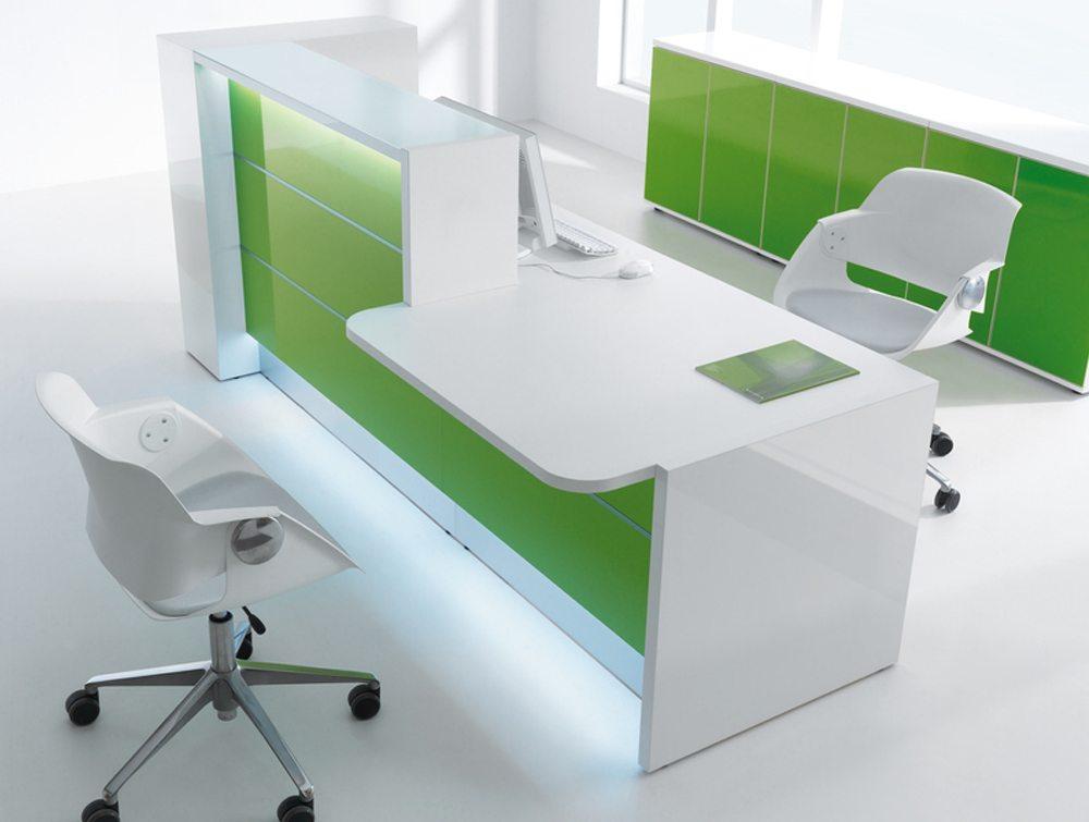 Valde straight reception desk in green