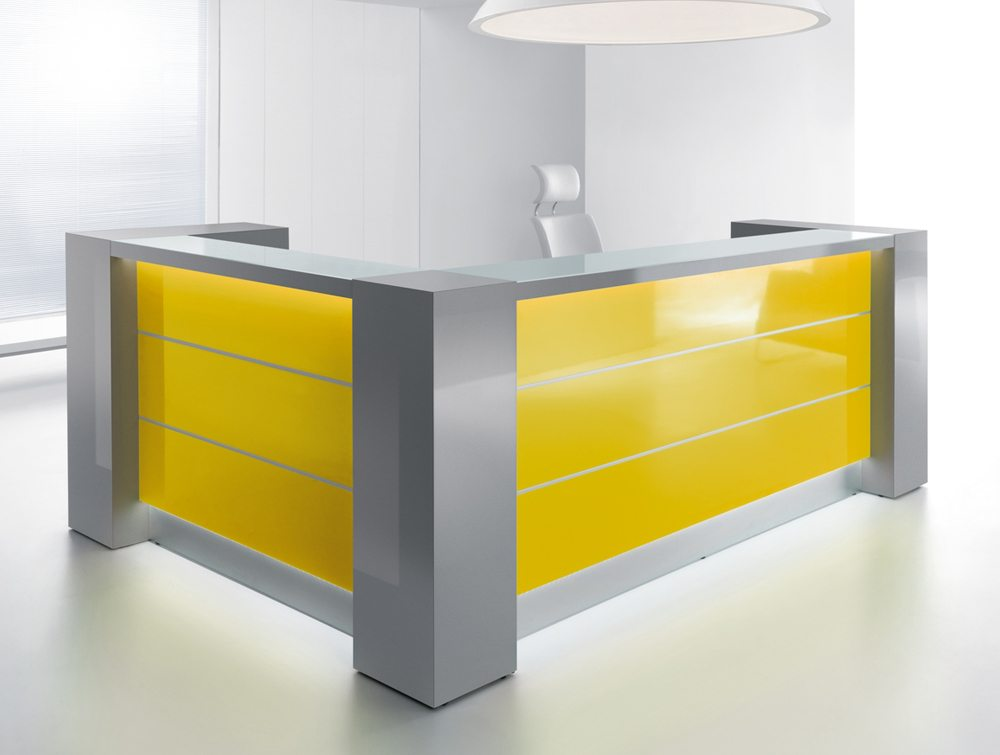 Valde reception desk in yellow