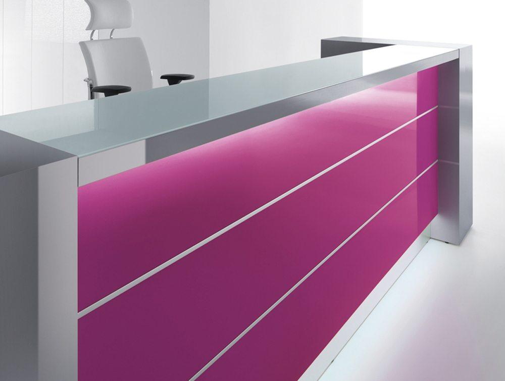 Valde straight reception desk in violet
