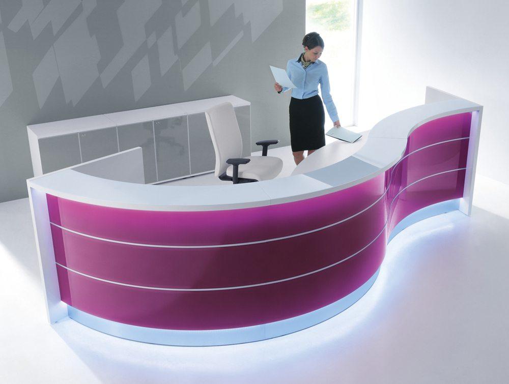 Valde curved circular reception desk in violet