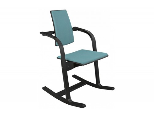 Varier-Actulum-Chair-with-Teal-Upholstered-Seat-and-Back-with-Black-Frame