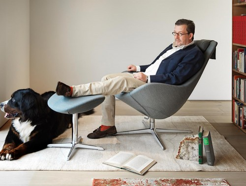 Varier-Kokon-Chair-with-Footrest-in-Grey-Fabric-in-Home-Office