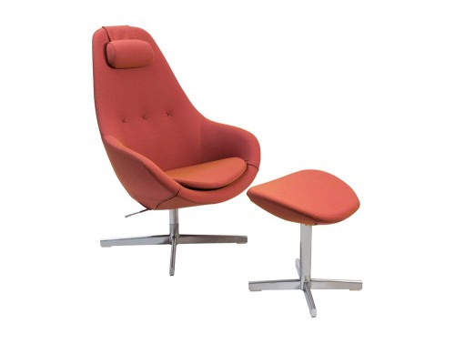 Varier-Kokon-Chair-with-Footrest-in-Orange-Red-Fabric