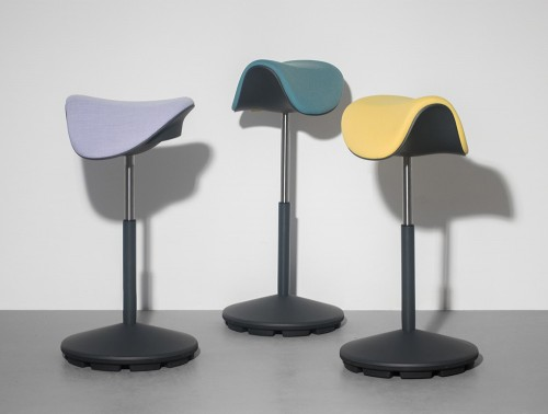 Varier-Motion-Sit-Stand-Stool-with-Lilac-Teal-and-Yellow-Seats