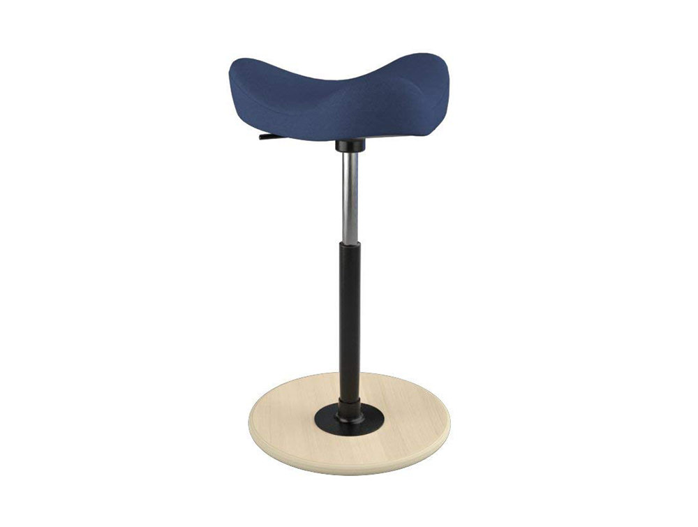 Varier-Move-Small-Sit-Stand-Stool-with-Blue-Seat-and-Wood-Finish-Base