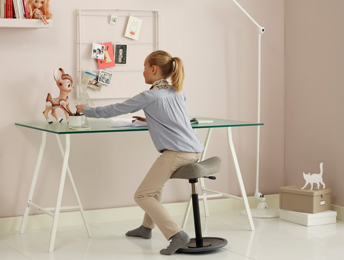 Varier-Move-Small-Sit-Stand-Stool-with-Grey-Seat-and-Black-Base-in-Childrens-Bedroom