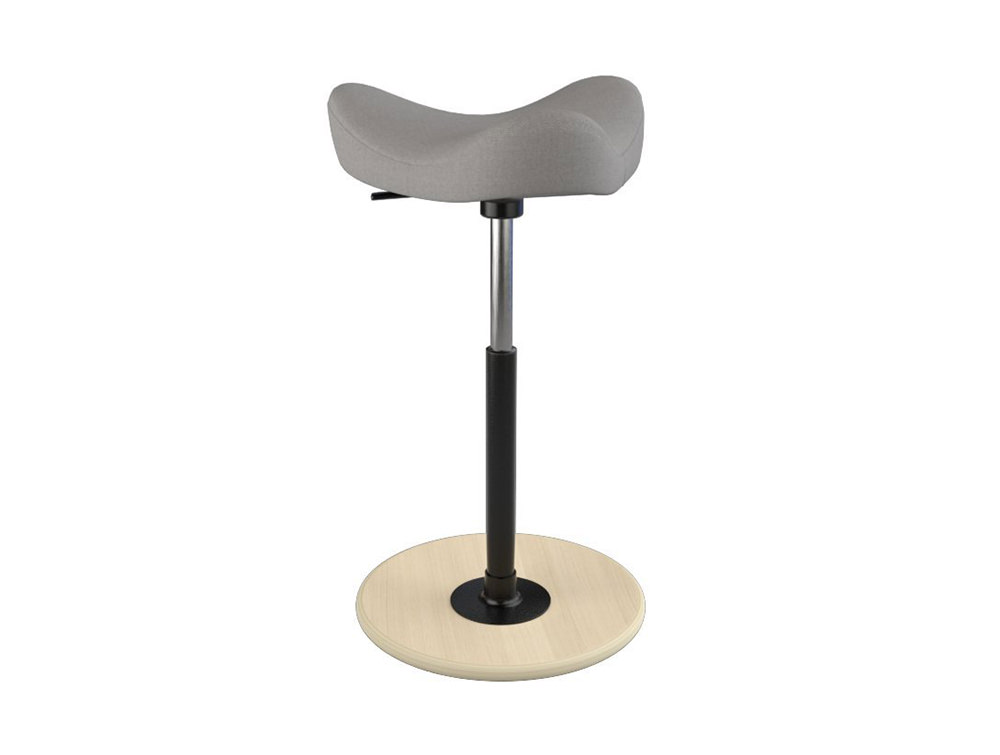 Varier-Move-Small-Sit-Stand-Stool-with-Grey-Seat-and-Wood-Finish-Base