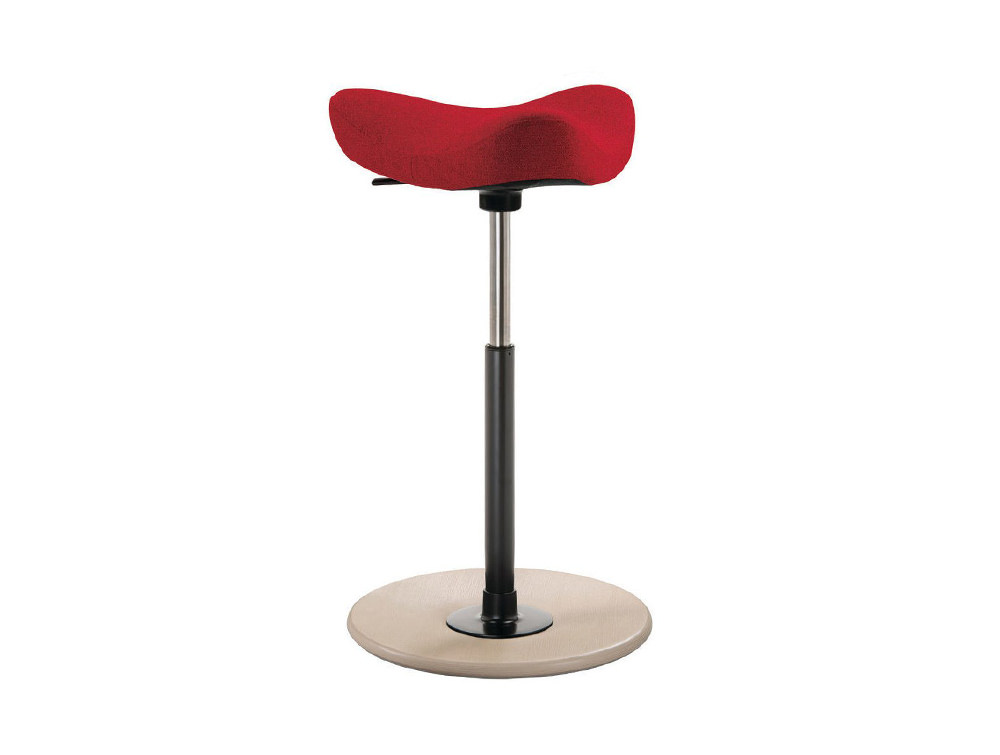 Varier-Move-Small-Sit-Stand-Stool-with-Red-Seat-and-Wood-Finish-Base