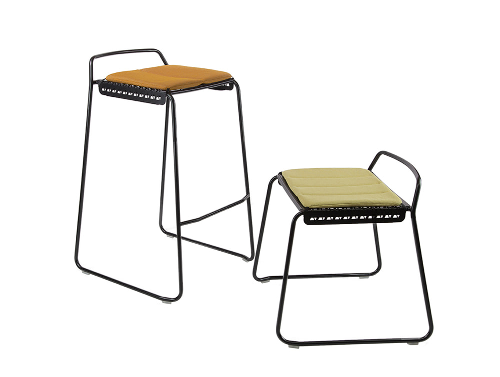Veck Tubular Framed Canteen and Bar High and Low Stool and Black Frame with Seat Pad