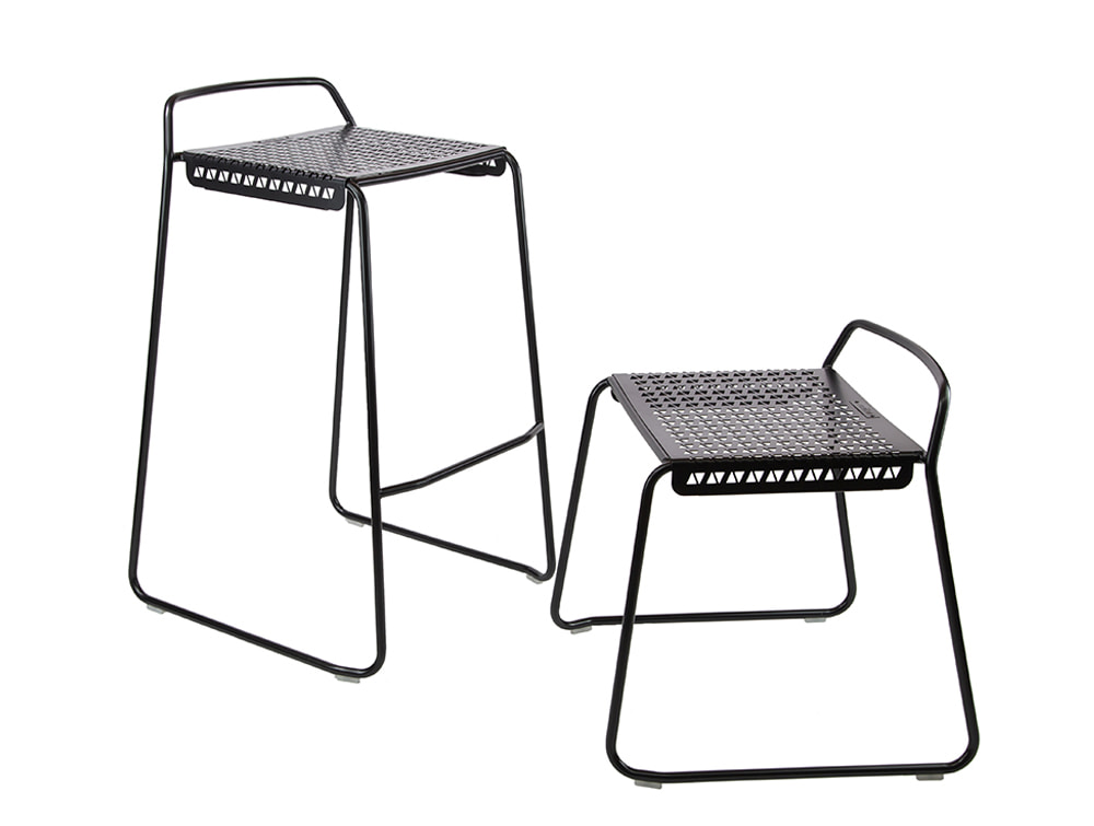 Veck Tubular Framed Canteen and Bar High and Low Stool and Black Frame