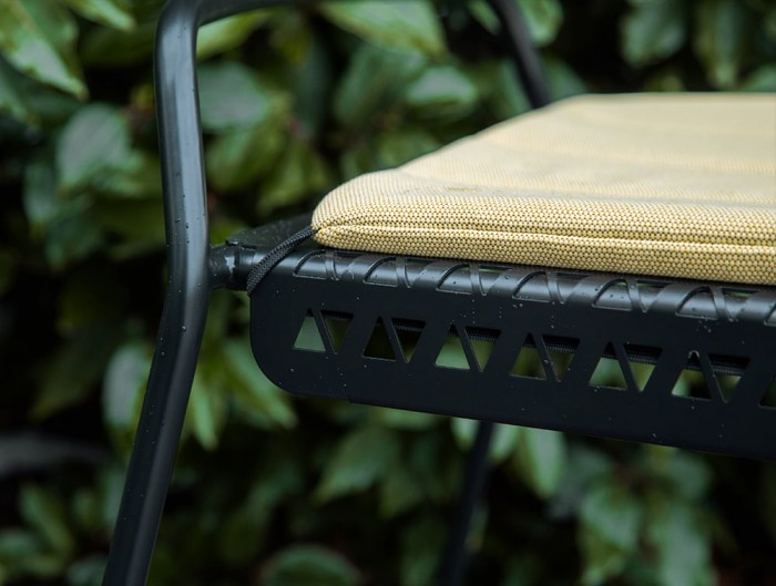 Veck Tubular Framed Canteen and Bar Stool Outdoor with Removable Upholstered Seat Pad in Green