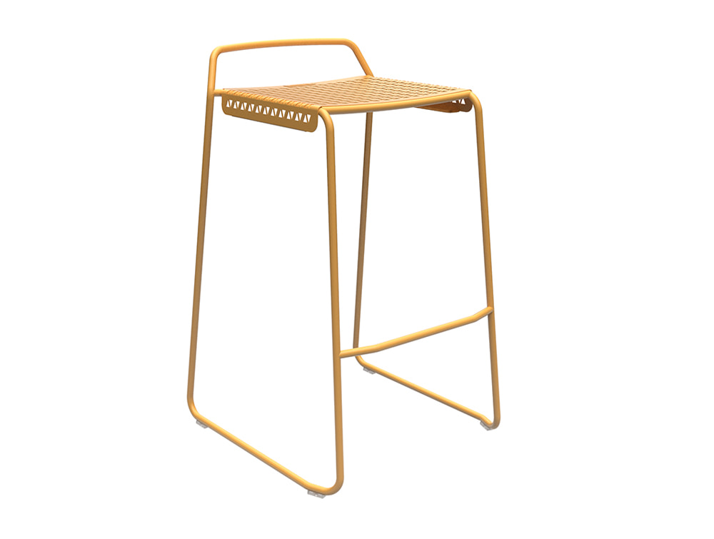 Veck Tubular Framed Canteen and Bar Stool in Yellow