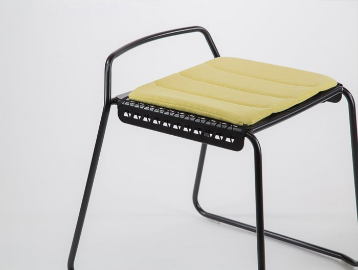 Veck Tubular Framed Canteen and Bar Stool with Upholstered Seat Pad in Yellow
