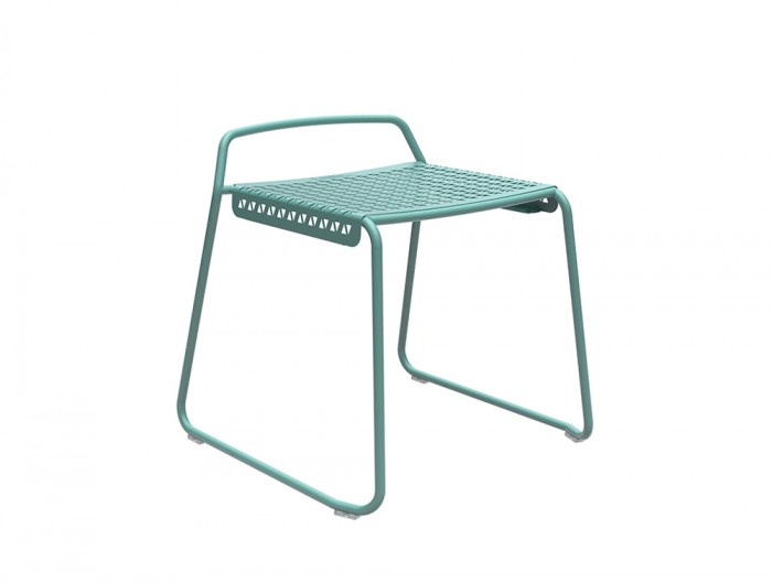 Veck Tubular Framed Low Stool for Canteen in Blue
