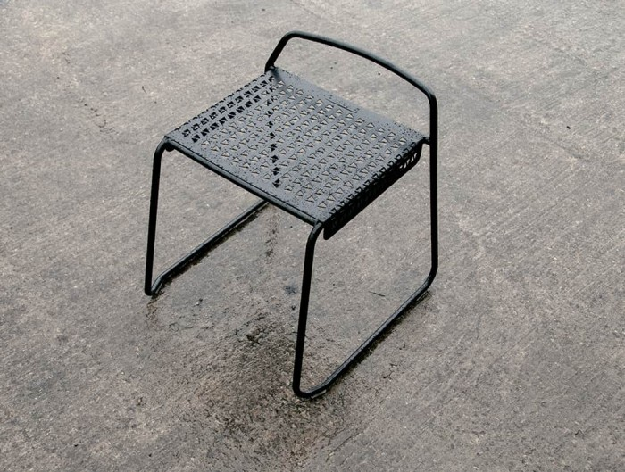 Veck Tubular Framed Stool Outdoor Suitable Fabric Water Resistant