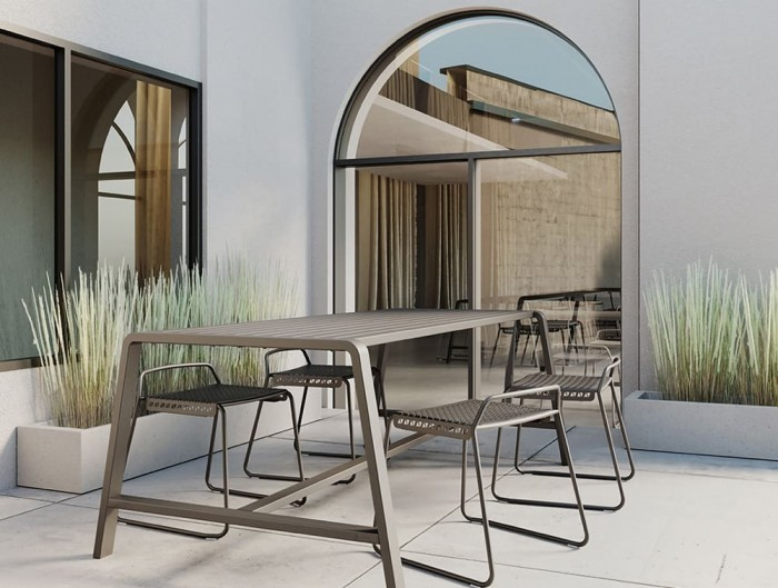 Veck Tubular Metal Framed Low Stool for Canteen Table Outdoor Use Terrace