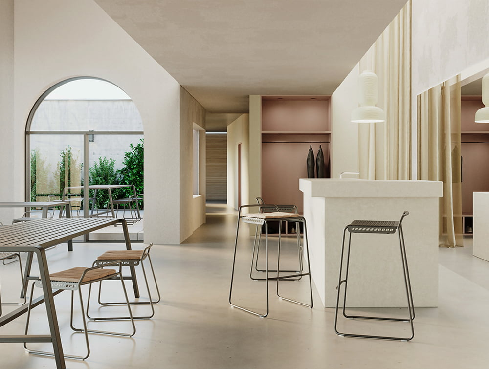 Veck Tubular framed Canteen and Bar Stool Modern Design Low and High Indoor or Outdoor
