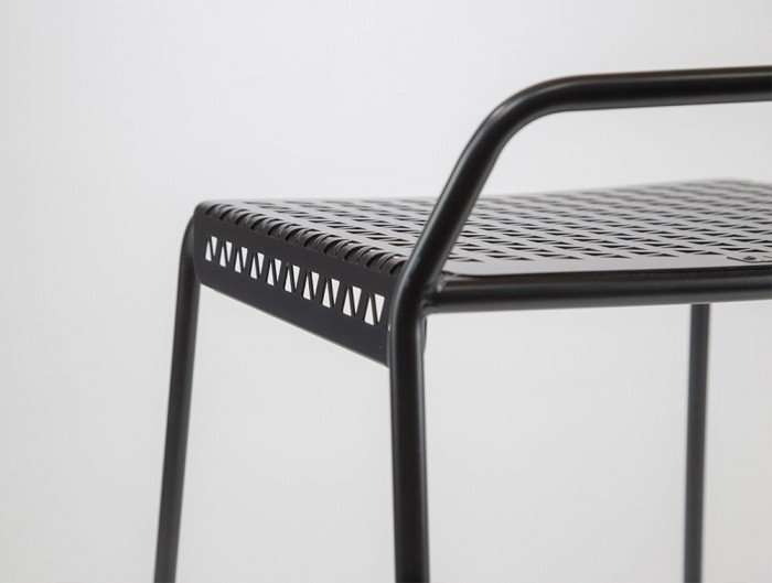 Veck Tubular framed Canteen and Bar Stool in Black Frame Back View