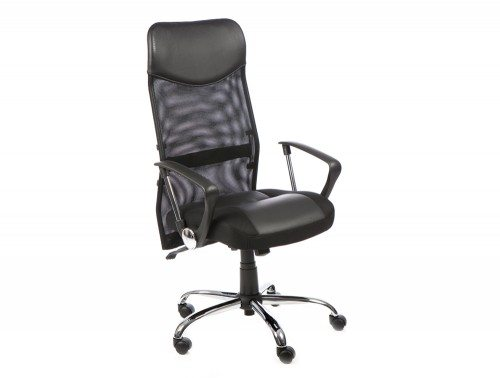 Vegas Executive Chair Black Leather Seat Black  Mesh Back With Leather Headrest With Arms Featured Image
